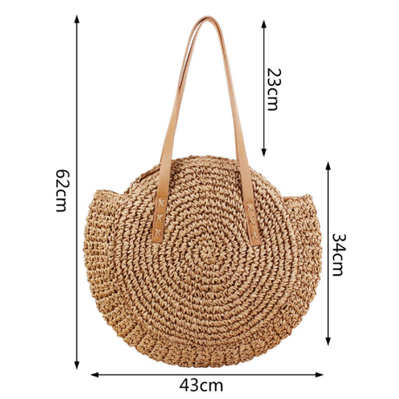 Round Straw Beach Bag Vintage Handmade Woven Shoulder Bag Raffia Circle Rat K4L4