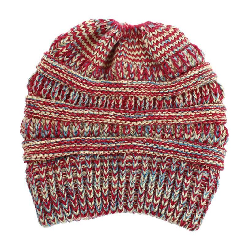 Weicher Strick Pferde Schwanz Hut Winter Hut Damen Wolle Warme Hut Damen Sk M3E2