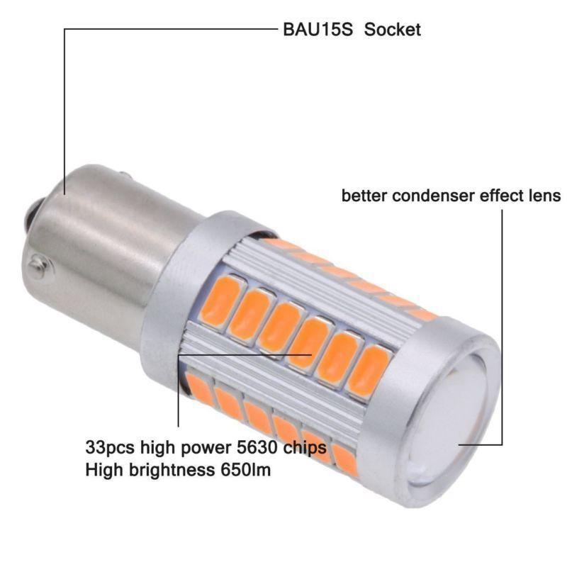 Amber 1156PY BAU15S PY21W Led 33SMD Car Tail Turn Brake Reverse Signal Bul F7U3