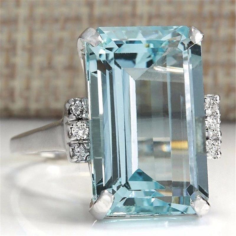 Cristal Bleu Clair Anneaux Proches Pour Les Femmes Saphir Bijoux de Pierres P9B3