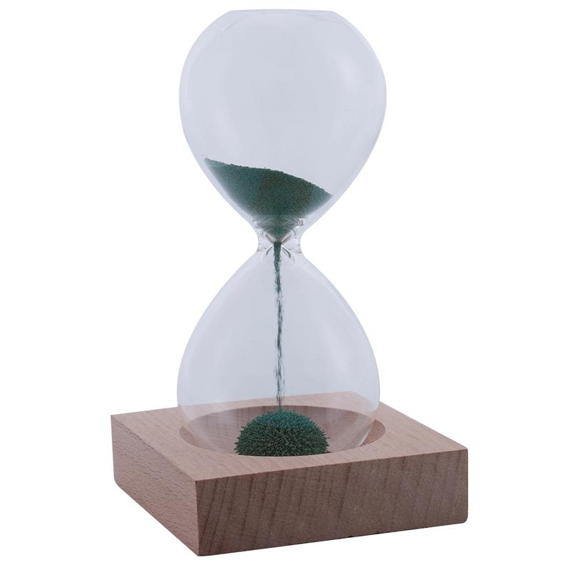 Holz+Glas+Eisen Pulver Sand Eisen Blühende Magnetische Sand Uhr Mit Verpack G9U8