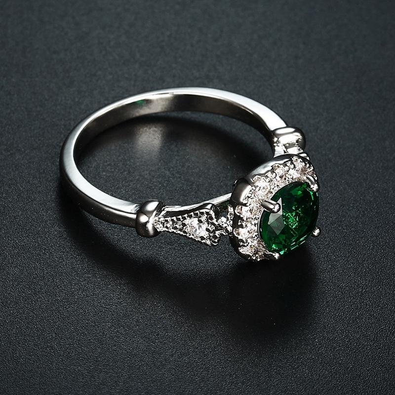 Ringe Groß Grün Oval Opal Stein Antique Grün+Silber Ringe Für Frauen Retro  S4F8