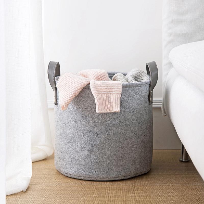 Felt Material Cylinder Sundries Collect Storage Basket Lightweight And Stur J4H2