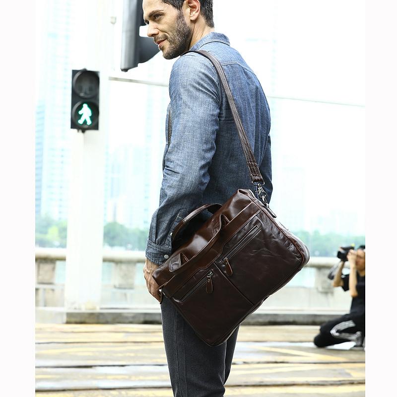 MVA Handtasche Schulter Aktentasche Leder Geschäfts Herren Tasche Leder Sch T4G8