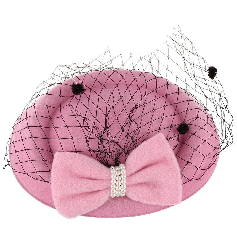 Frauen Fascinators Hut Pillbox Hut Cocktail Party Hut mit Dot Veil Bowknot  O5C9
