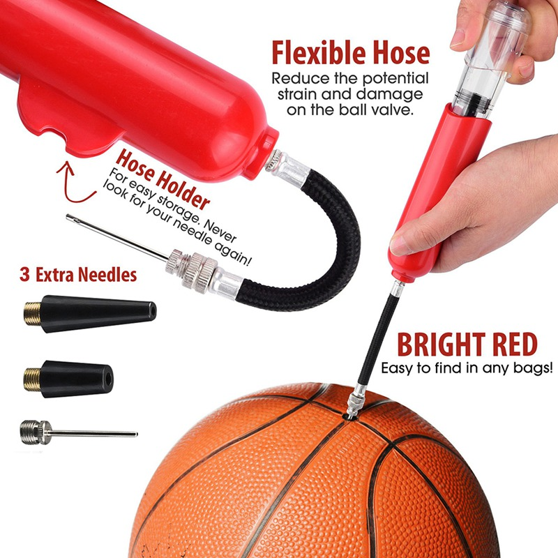 2 Nozzle Air Pump Fo N4T9 Inflatable Ball Hand Air Pump Inflator With 1 Needles