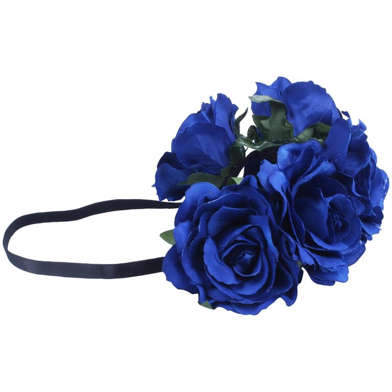 Damen Hawaiian Stretch Rose Blumen Stirnband Blumen Krone Für Garland Party F3I9