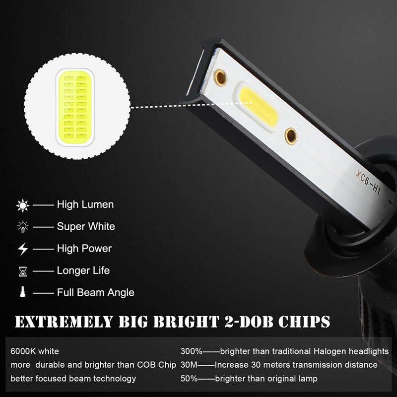 Car Headlight Bulb,100W 6000K 15000 LM LED Headlight Bulb,Dob Chips Fog Lig R6V4