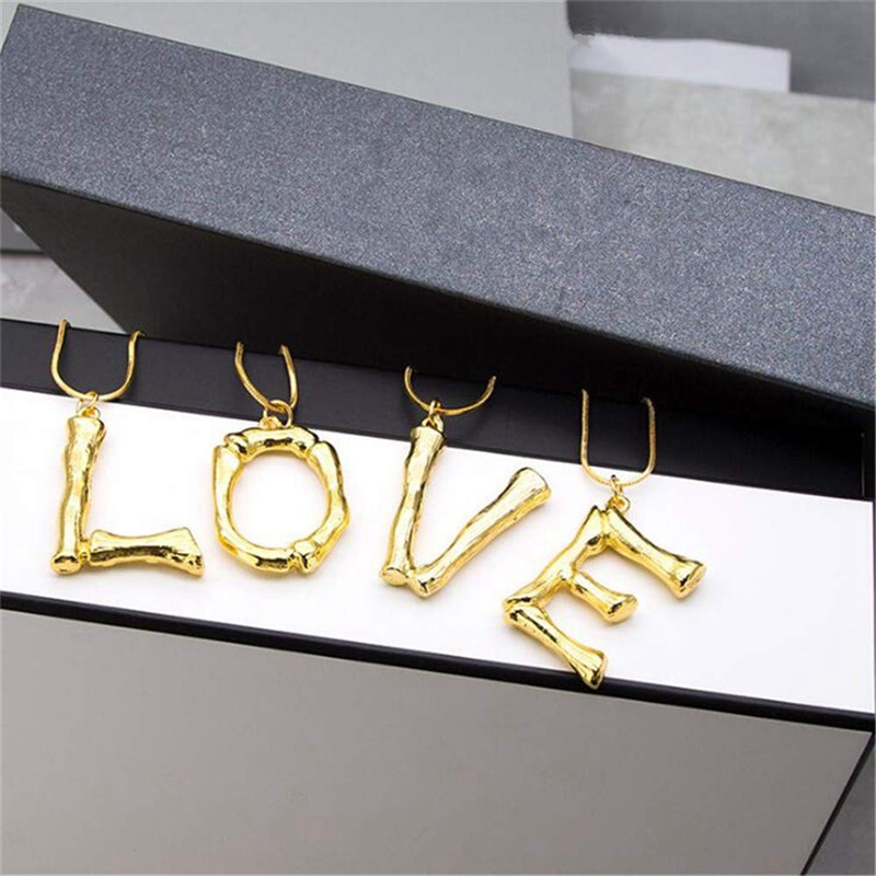 Letter Necklace Jewelry Big English Letter Pendant Gold Chain Dangle Neckla C3T4