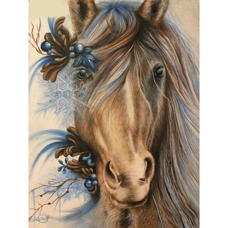 """Full Round Drill 5D Diy Diamond Painting/""""Animal Horse/""""3D Embroidery Cross S Y3F4"""