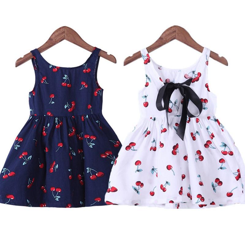 Mädchen Sommer Kleid Mädchen A Linie Kleid O Ansatz Kurz Arm Kirsch Druck B G8I5