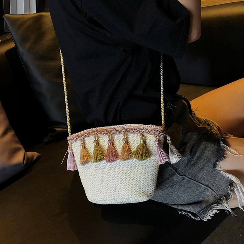 Frauen Quaste Geldbörse Diagonal Über Die Schulter Rattan Strandtasche E3Z3