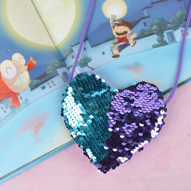 New Sequins Heart Kids Shoulder Coin Bag Baby Girls Mini Messenger Bag Cart H5D3