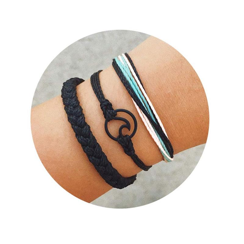 3 Stücke Sommer Surfer Welle Armband Einstellbar Freundschafts Armband Han Z2F3