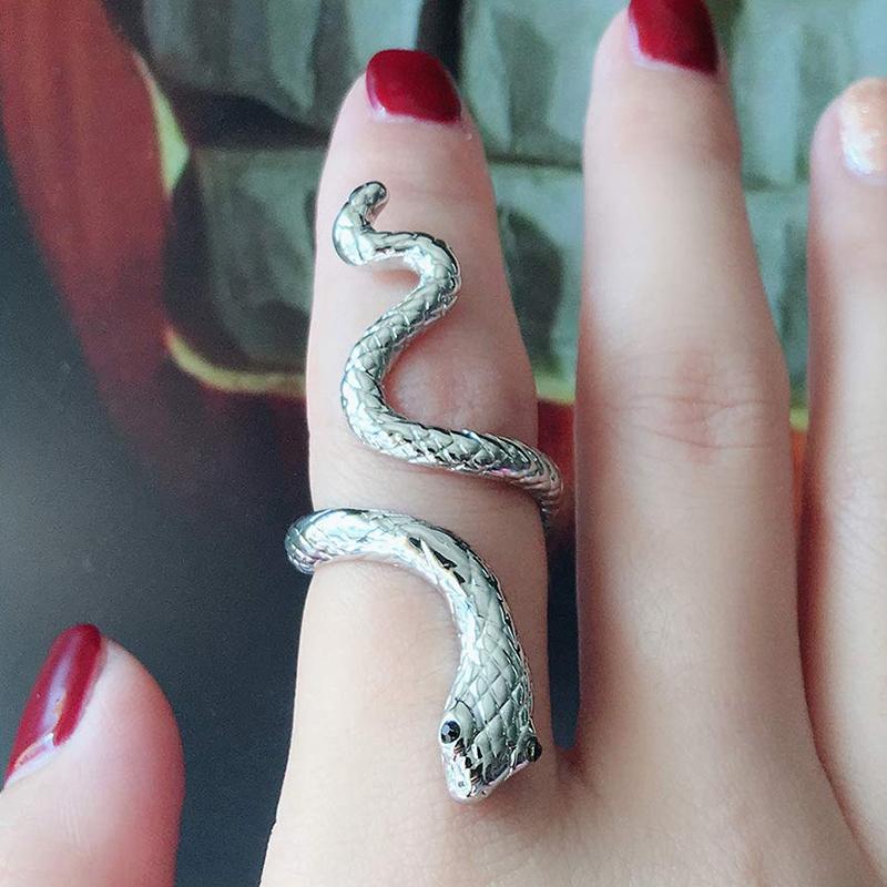 Anillo Punk Rock serpiente ajustable para mujeres Retro Estilo Gótico Dedo Joyería Acces I8G8