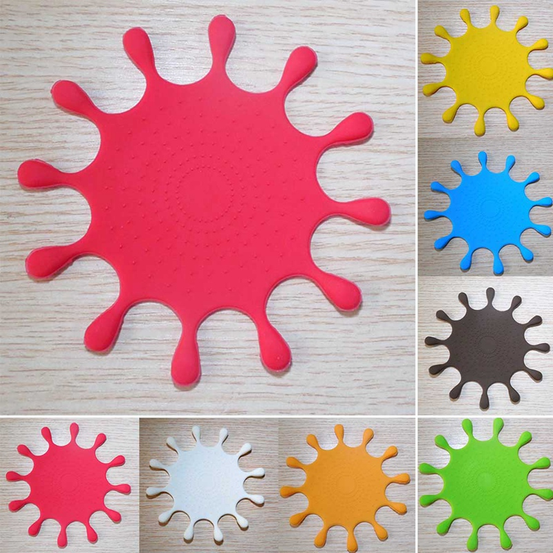 Water-Drop Shape Silicone Drink Coasters Table Cup Mat Home Decor Drink Cup Q4H7