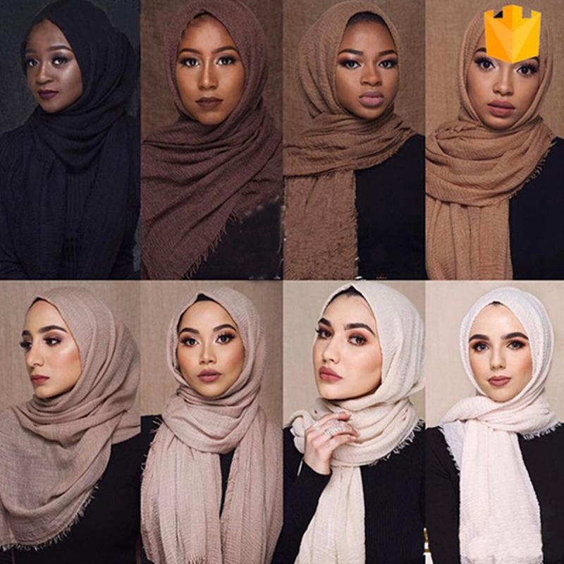 Muslimischen Kopf Tuch Baumwolle Und Leinen Frauen Hijabs Damen Einfache Fe O9Y2