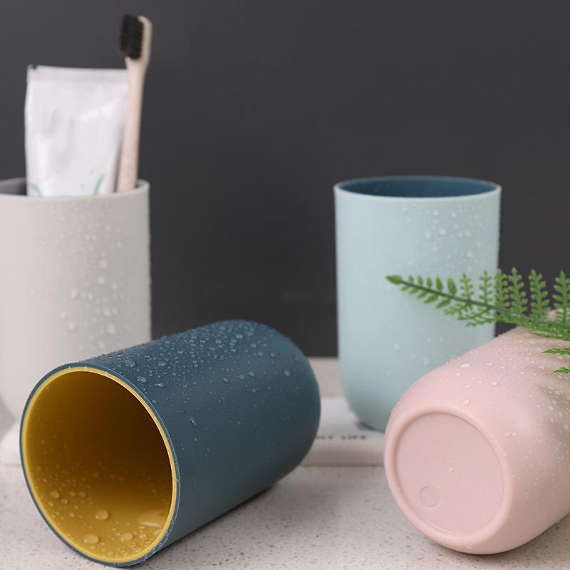 Moda De Plástico Liso Pp Simples Casal saborear Copo para água de enxaguamento Caneca T 3Q6