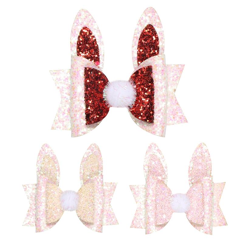 Girls Children Princess Glitter Rabbit Ears Hair Bows Clips Handmade Hair Pi S1P