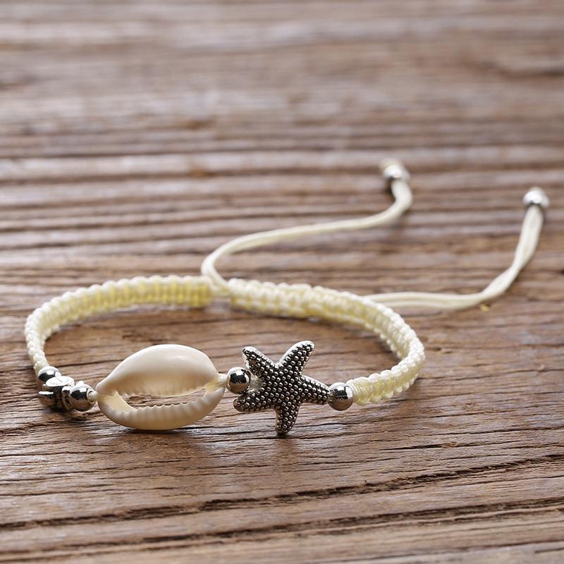 Frauen Natürliche Muschel Perle Armband Seestern Schildkröte Charm ArmbaH5H9 1X