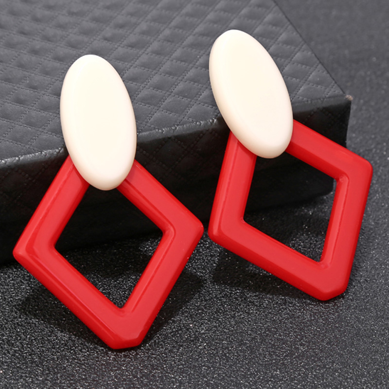 Mode Diamant Geometrische Ohrringe Vintage Acryl Tropfen Ohrringe H9R8