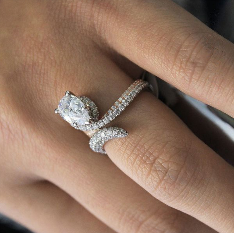 Luxus Weiß Braut Hochzeit Ring Set Schmuck Stein Finger Inlay Hochzeit Ring L2Z9