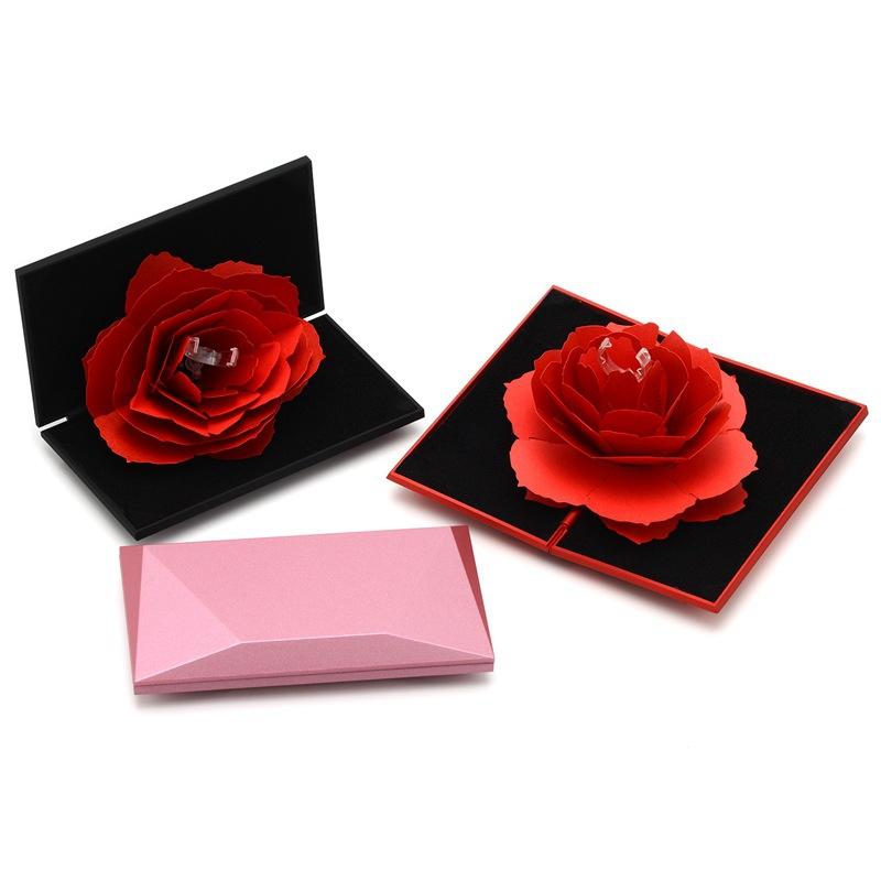 Hochzeit Ehe Rotierende Rose Ring Box Schönen Samt Hochzeit Verlobungsbox f O2G2