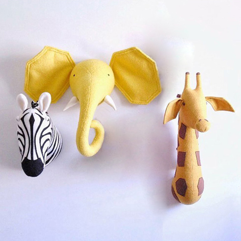 3D Animal Head Wall Cute Stuffed Wall Hanging Toys Kids Room Animal Wall M9Z9