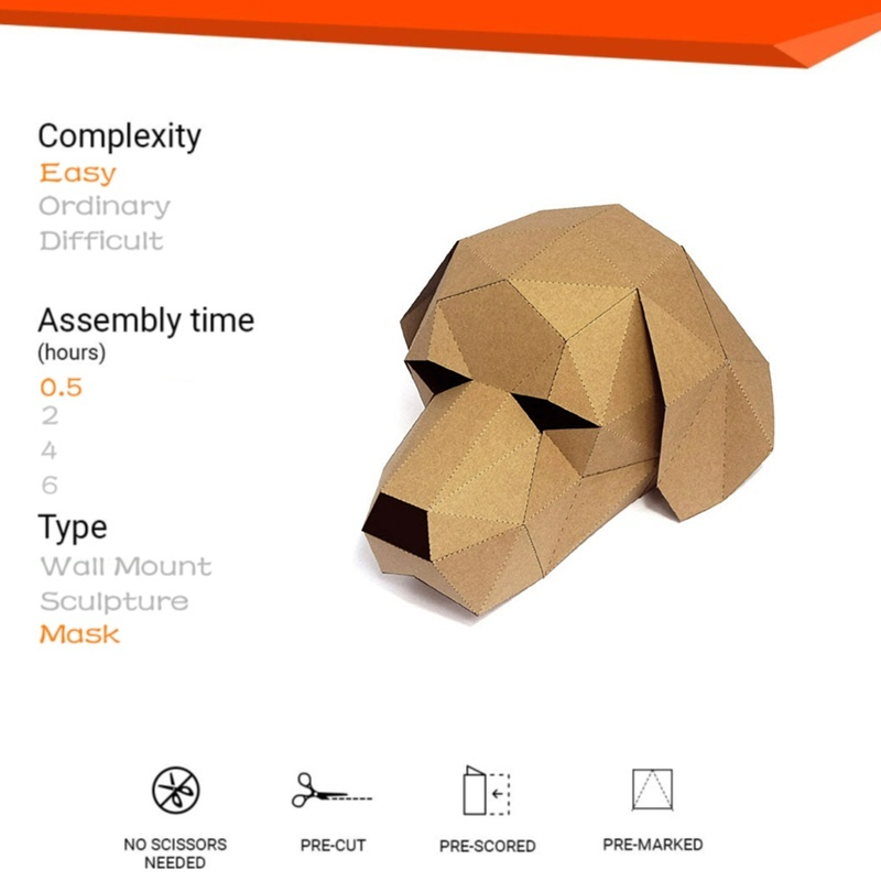 Diy 3D Paper Mask Fashion Cute Animal Costume Cosplay Model Mask for ChristW5A3