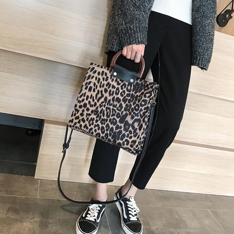 Leopard Women Handbags Big Capacity Pu Leather Females Handbags Fashion Leo B8Q7