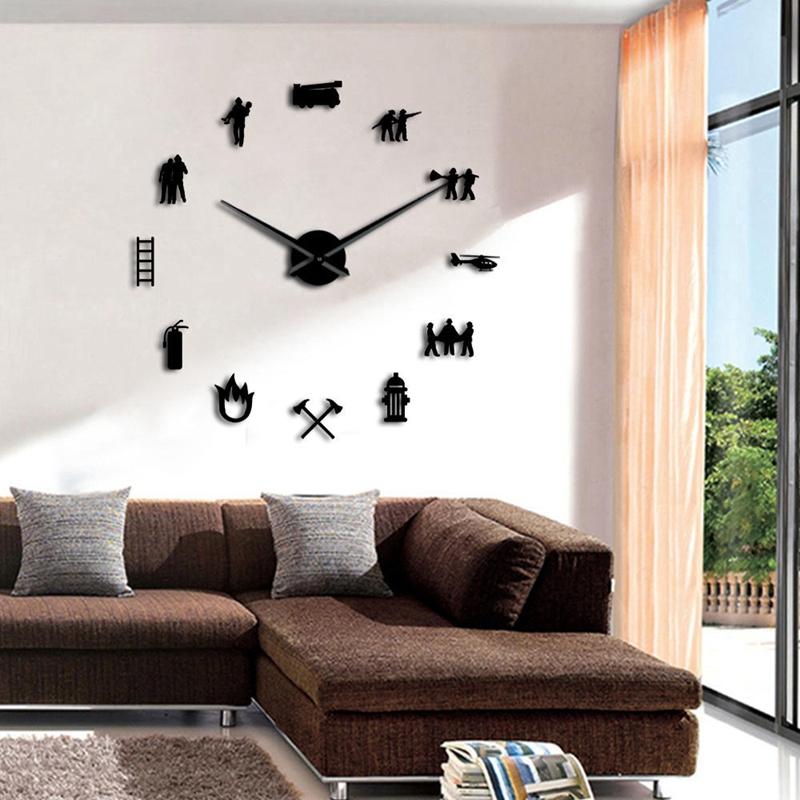 1X Pompier Amour Bricolage GéAnt Horloge Murale Bureau des Pompiers Grand X1U2