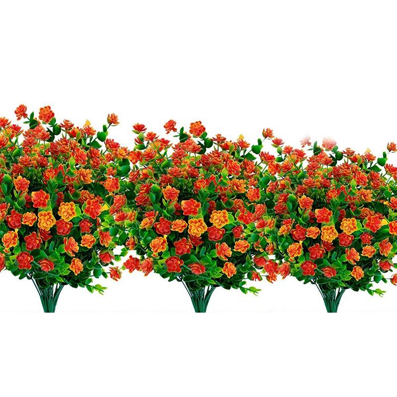 2X 8 StüCke KüNstliche Blumen Outdoor Uv-BestäNdige Pflanzen,8 Zweige Faux Q1D1