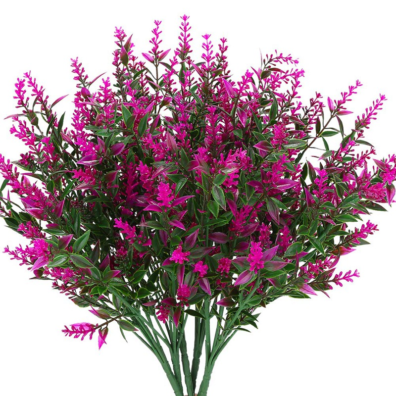 Artificial Lavender Flowers Plants 6 Pieces,Lifelike Uv Resistant Fake Shr G2K9
