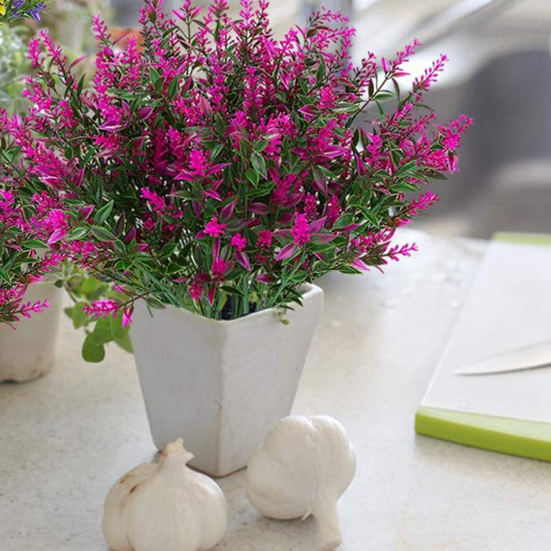 Artificial Lavender Flowers Plants 6 Pieces,Lifelike Uv Resistant Fake Shrub 6O5