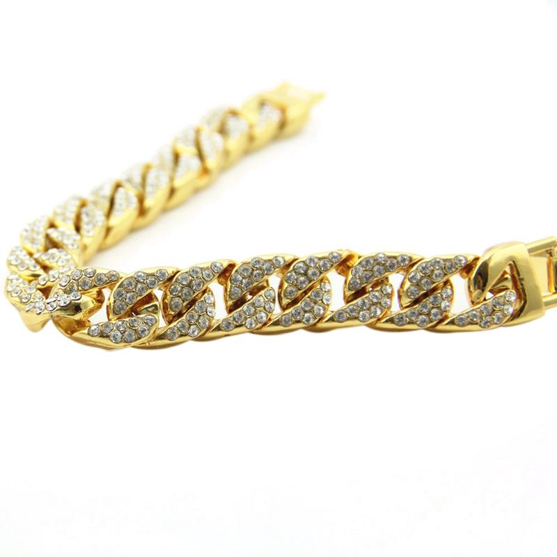 Men/'s Apparel Accessories Full Diamond Chain Men/'s Bracelet Alloy Rhineston E7J3