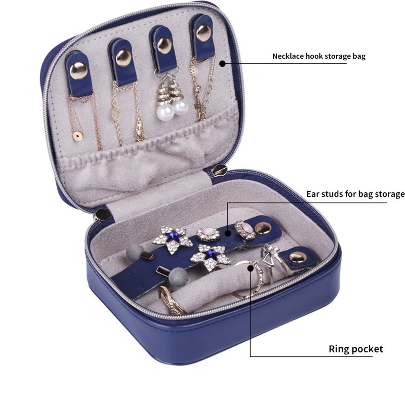 Portable Travel Small Jewelry Box Storage Box Velvet PU Leather Zipper Jewe Q1Q1