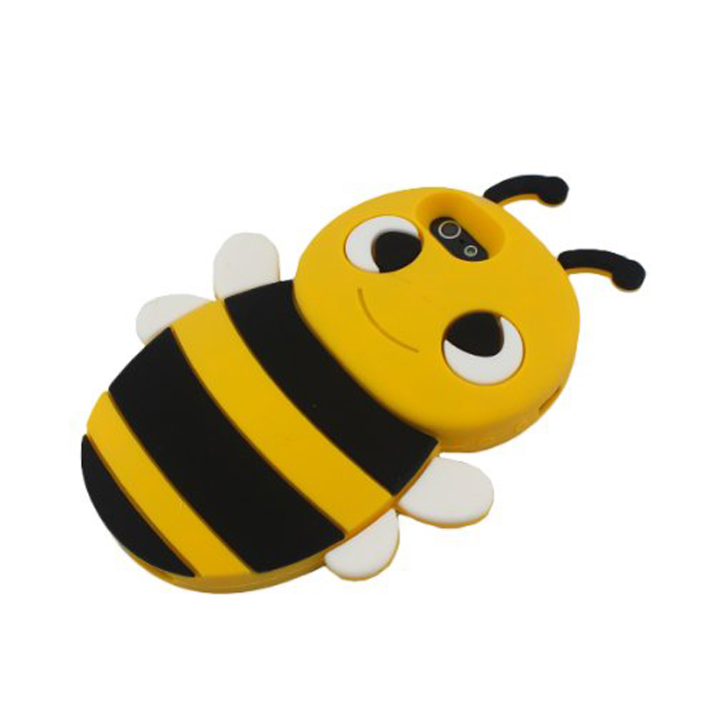 Yellow 3D Bee Shape Soft Silicone Gel Back Case Cover for ...