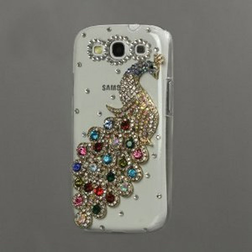5x-Multi-color-Peacock-Crystal-Clear-Case-Rhinestone-and-Diamond-Bling-BF