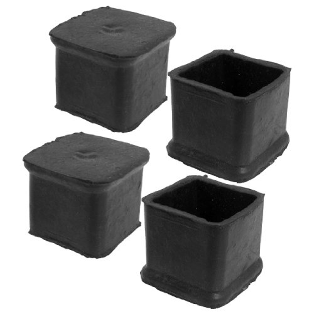 4Pcs Black Square Chair Table Leg Rubber Foot Covers Protectors 28mm x