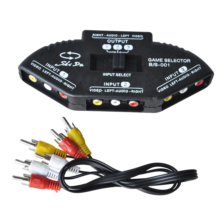 Negro-Divisor-Interruptor-Selector-de-Fonografo-3-Pueto-AV-Audio-RCA-G9Q2