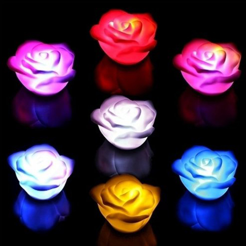 10 pcs changing 7 colors rose flower led light night for Color changing roses
