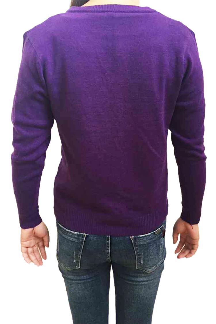 White-Women-Knitted-Sweater-V-neck-Long-Sleeve-Cardigan-J9B6
