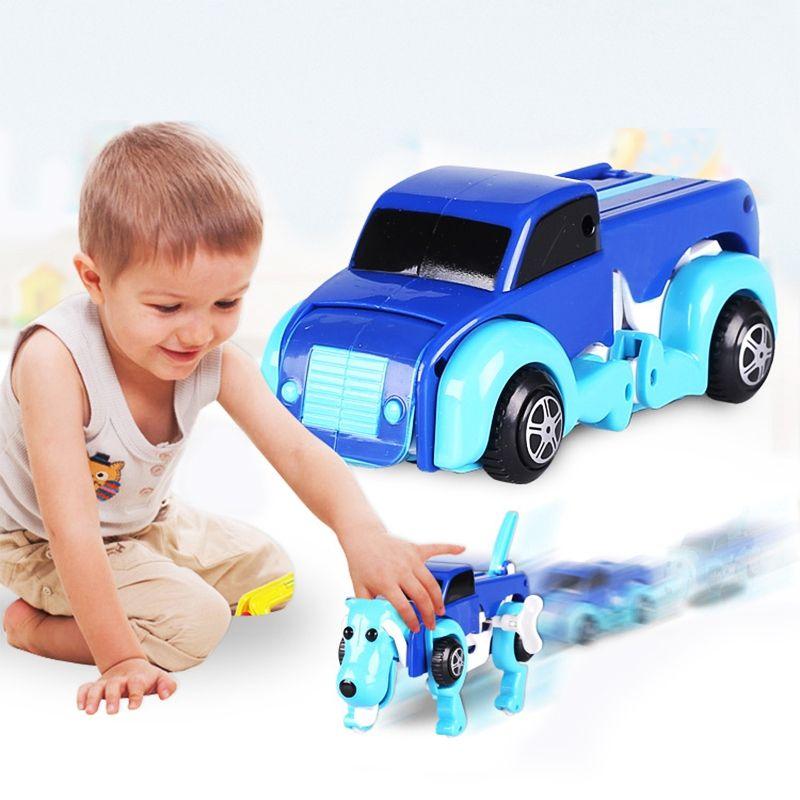 8X(New Dog Dinosaur Car Transformer Transform Auto Cute Cool Boy Girl Toy J8N6)