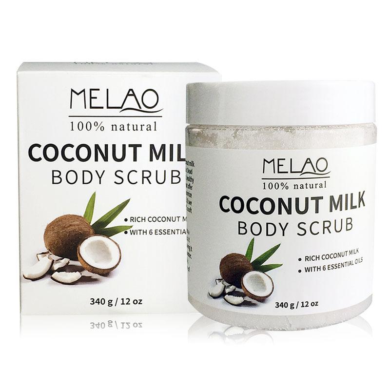 Здоровье и гигиена MELAO 340 г 100% Натуральное кокосовое молочко для тела с солью Мертвого моря, миндальным маслом и витамином Е (Фото 5)