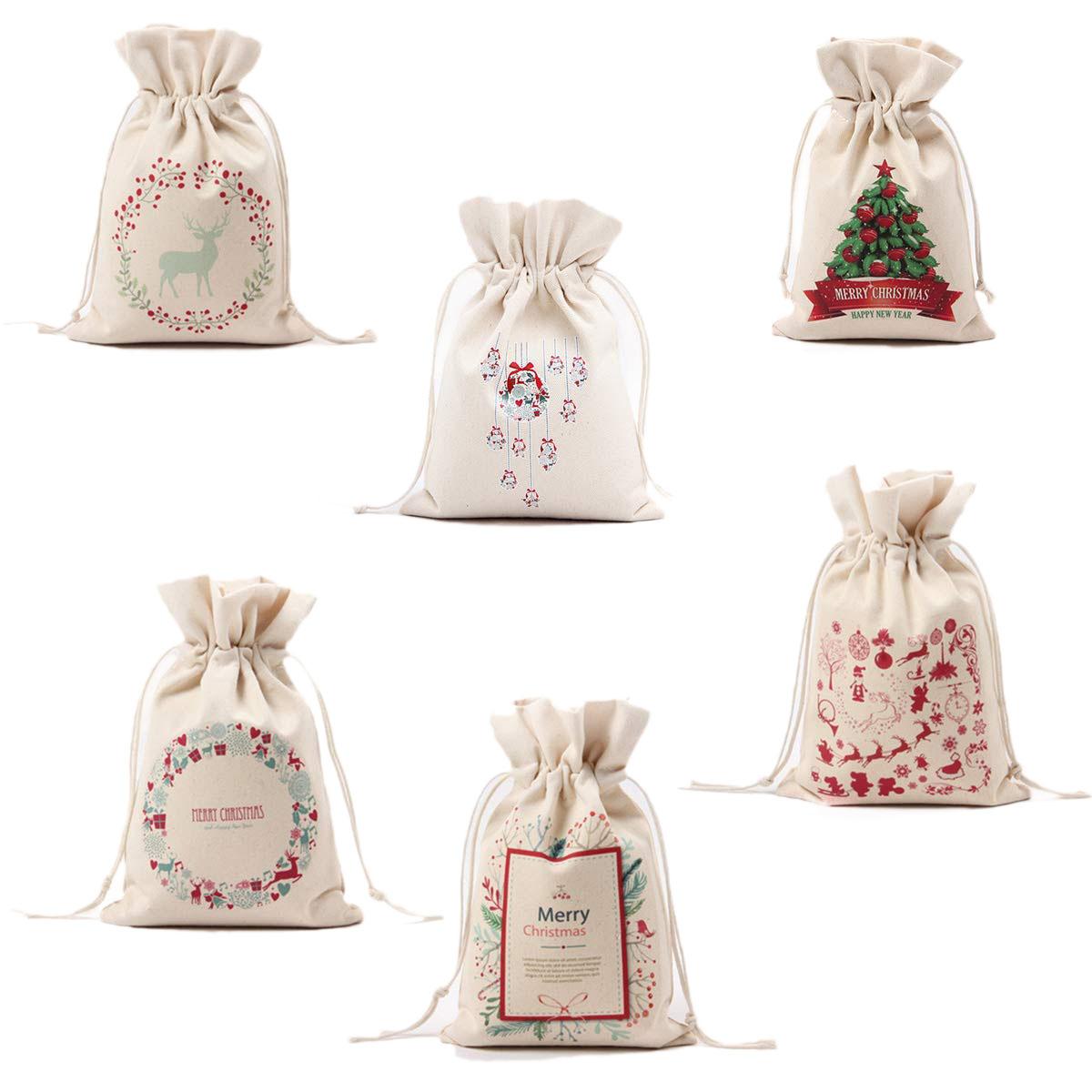 Подарочные льняные сумки в рождественском стиле размер 9.5 x 6.3 дюйма 6шт