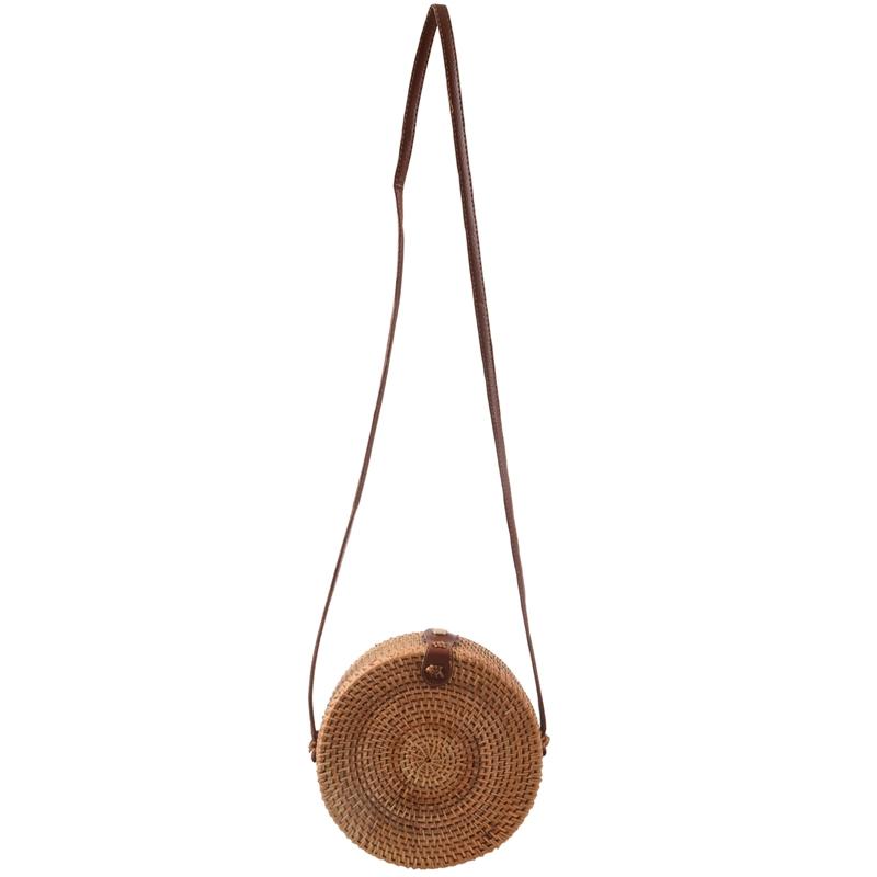 Bali-Vintage-Bandouliere-fait-a-la-main-Sac-en-cuir-Sac-de-plage-rond-Sac-e-A4M4