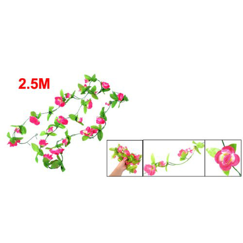 2x 2 5m gruene blaetter fuchsia rosen kuenstliche haengende blumen reben et. Black Bedroom Furniture Sets. Home Design Ideas