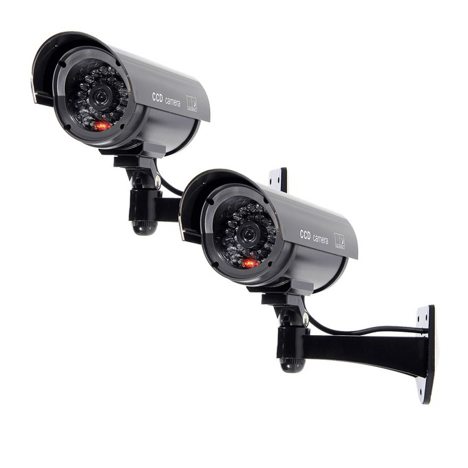 2x Flashing Light Dummy Security Camera Fake Infrared LED Surveillance Bullet DW