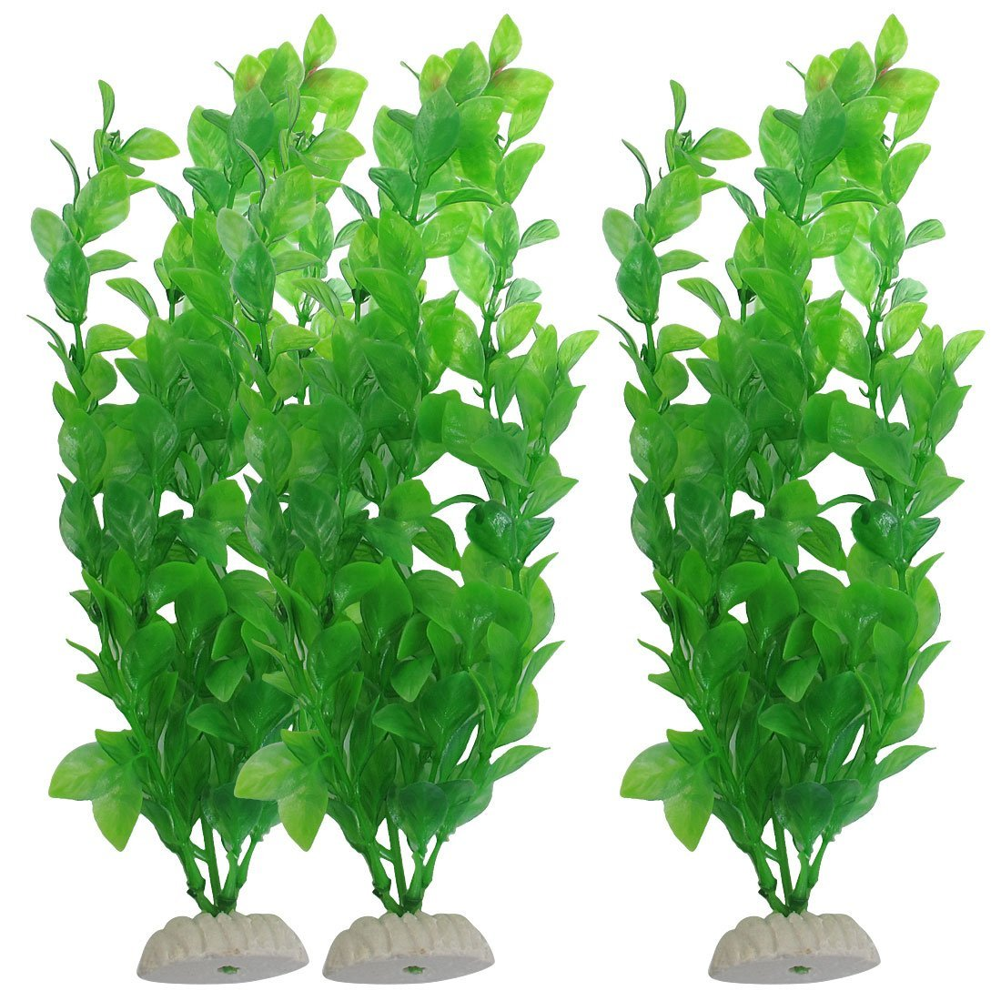 "3 pcs 10.6"" height green plastic artificial water plants aquarium"