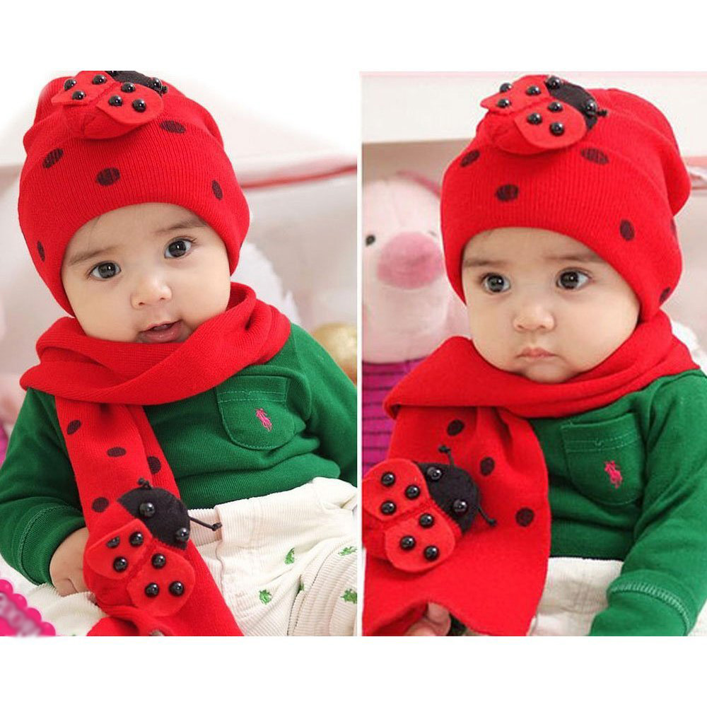3631cf55b062 Winter Cute Baby Infant Boy Girls Ladybug Warm Beanie Hat Cap + ...